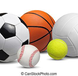 set, van, sportende, gelul, vrijstaand, op wit, achtergrond