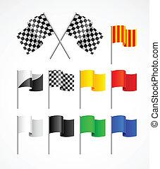 set, van, sportende, vlaggen