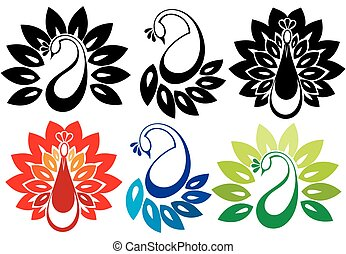 set, van, spotprent, doodle, vogels, iconen