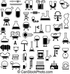 set, van, spotprent, mechanismen, silhouettes