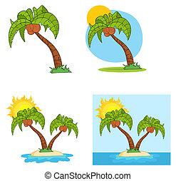 set, van, spotprent, palmboom