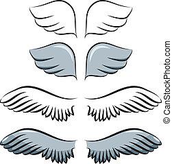 set, van, spotprent, vleugels