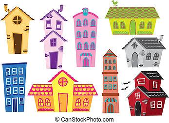 set, van, spotprent, woning, en, gebouw