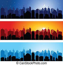 set, van, stad skyline