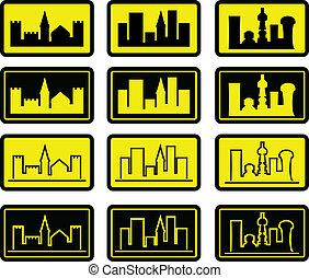 set, van, stad, tekens & borden