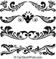 set, van, symmetrisch, versieringen, 3