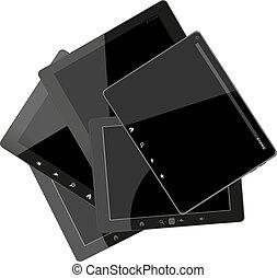set, van, tablet, computers, met, black , scherm