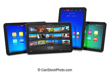 set, van, tablet, computers