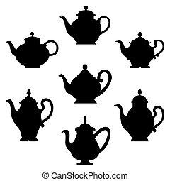set, van, teapots