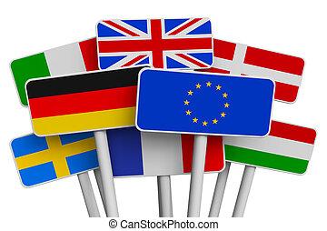 set, van, tekens & borden, met, wereld, vlaggen