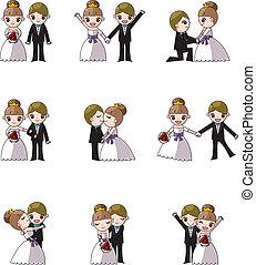 set, van, trouwfeest, en, bruid