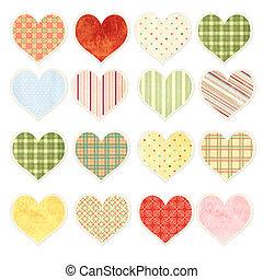 set, van, valentijn, hartjes, met, papier, textuur, in, armoedig, chic, stijl