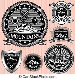 set, van, vector, emblems, met, bergen