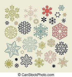 set, van, vector, kleurrijke, snowflakes, iconen, op, beige, achtergrond., jaarwisseling, en, kerstmis, feestdagen, ontwerp onderdelen