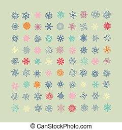 set, van, vector, kleurrijke, snowflakes, icons., jaarwisseling, en, kerstmis, feestdagen, ontwerp onderdelen