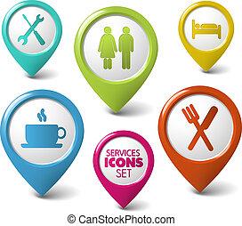 set, van, vector, ronde, 3d, wijzers, voor, diensten