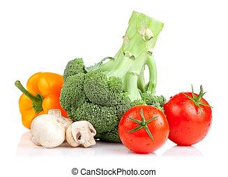 set, van, vegetables:, broccoli, tomaten, paddestoelen, en, gele peper, vrijstaand, op wit, achtergrond