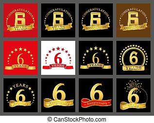 set, van, verkleumder zes, jaren, (6, years), viering, design., jubileum, gouden, getal, mal, communie, voor, jouw, verjaardagsfeest
