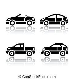 set, van, vervoeren, iconen, -, auto's