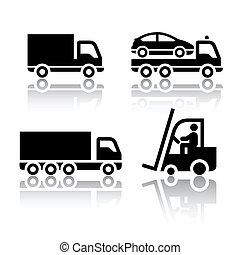 set, van, vervoeren, iconen, -, vrachtwagen