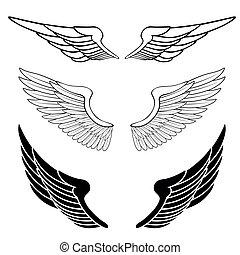 set, van, vleugels, vrijstaand, op wit