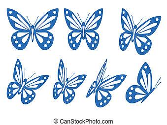 set, van, vlinder