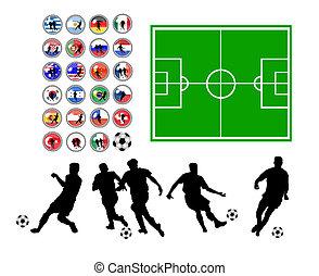 set, van, voetbal, symbolen