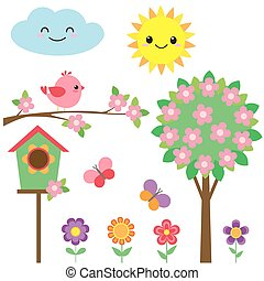 set, van, vogels, en, bloemen