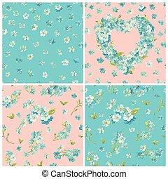 set, van, voorjaarsbloesem, bloemen, achtergronden, -, seamless, floral, armoedig, chic, model, -, in, vector