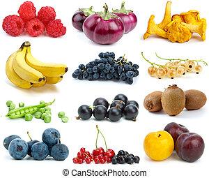 set, van, vruchten, besjes, groentes, en, paddestoelen, van,...