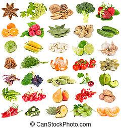 set, van, vruchten, groentes, kruiden, en, nootjes