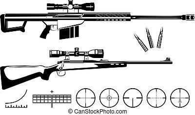 set, van, vuurwapens, sluipschutter, geweren, en, doelen