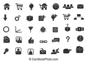set, van, web, pictogram