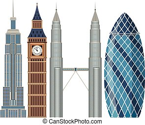 set, van, wereld, de beroemde bouw