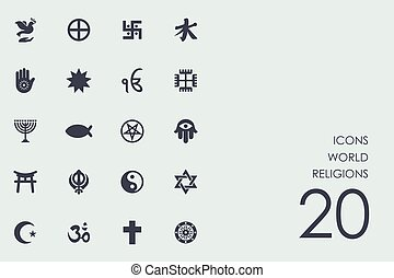 set, van, wereld godsdiensten, iconen