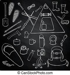 set, van, winter, kamperen, symbolen, tekens & borden, op, krijten plank