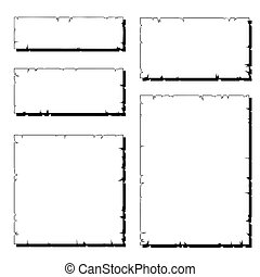 set, van, witte , afgescheurde, oud, papier, frame, met,...