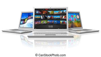 set, van, witte , laptops
