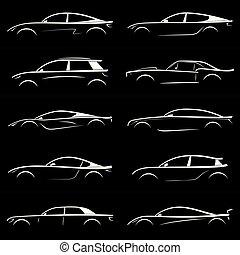 set, van, witte , silhouette, auto, op, black , achtergrond.