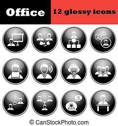 set, van, zakenlui, glanzend, iconen