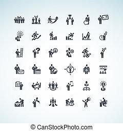 set, van, zakenlui, iconen