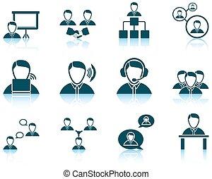 set, van, zakenlui, pictogram
