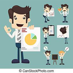 set, van, zakenman, karakters, presentatie, grafiek