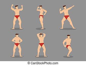 set, van, zes, gespierd, lichaamsbouwers, vector, spotprent,...