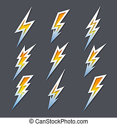 set, van, zigzag, de bouten van de bliksem, of, elektriciteit, iconen
