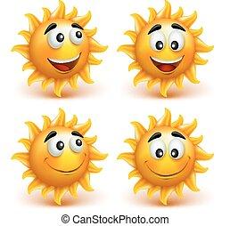 set, van, zomer, zon gezicht, met, vrolijke