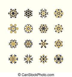 set, van, zwarte en, gouden, snowflakes, op wit, achtergrond., jaarwisseling, en, kerstmis, feestdagen, ontwerp onderdelen