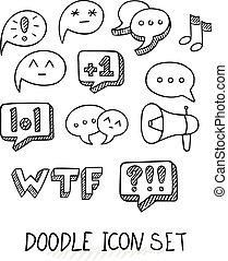 set, variëteit, doodle, universeel, topics., icons.