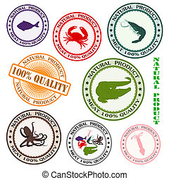 Set various rubber stamp with silhouettes of sea mammals