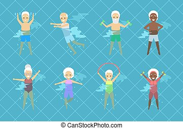 set, vecchie persone, stagno, esercizio, nuoto